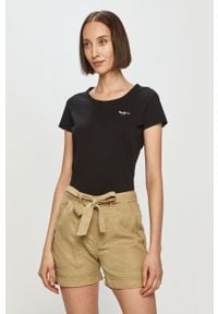 Czarna bluzka Pepe Jeans casualowa, gładkie, na co dzień