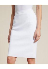 Luisa Spagnoli - LUISA SPAGNOLI - Biała spódnica ołówkowa Campanile. Kolor: biały. Materiał: tkanina, wiskoza. Wzór: gładki. Styl: klasyczny