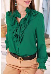 Zielona bluzka IVET elegancka, w kolorowe wzory, z falbankami