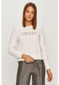Biała bluza DKNY casualowa, z aplikacjami, na co dzień, bez kaptura