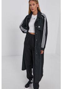 adidas Originals - Trencz. Kolor: czarny. Materiał: materiał. Długość rękawa: raglanowy rękaw