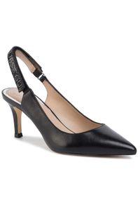 Czarne sandały Guess eleganckie, na średnim obcasie, na obcasie, z aplikacjami