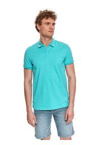 TOP SECRET - T-shirt polo z gładkiej dzianiny. Typ kołnierza: polo. Kolor: turkusowy. Materiał: dzianina. Długość rękawa: krótki rękaw. Długość: krótkie. Wzór: gładki. Styl: klasyczny