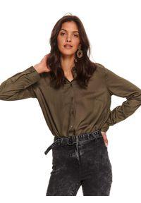 TOP SECRET - Klasyczna koszula damska. Okazja: na imprezę. Kolor: brązowy. Materiał: materiał. Długość rękawa: długi rękaw. Długość: długie. Sezon: jesień. Styl: klasyczny