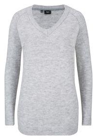 Szary sweter bonprix melanż, z dekoltem w serek