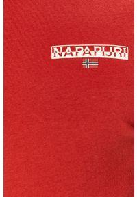 Czerwony t-shirt Napapijri gładki, na co dzień, casualowy