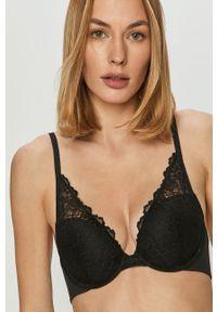 Czarny biustonosz Calvin Klein Underwear z fiszbinami, w koronkowe wzory
