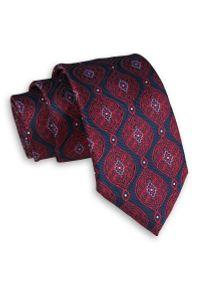 Alties - Granatowo-Czerwony Elegancki Męski Krawat -ALTIES- 7 cm, Klasyczny, Wzór Geometryczny. Kolor: niebieski, czerwony, wielokolorowy. Materiał: tkanina. Wzór: geometria. Styl: klasyczny, elegancki