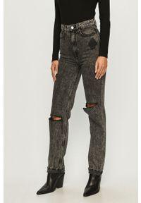 Szare proste jeansy TALLY WEIJL z podwyższonym stanem, w kolorowe wzory
