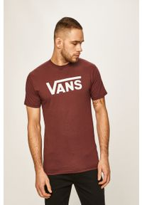 Brązowy t-shirt Vans z okrągłym kołnierzem, casualowy, na co dzień, z nadrukiem