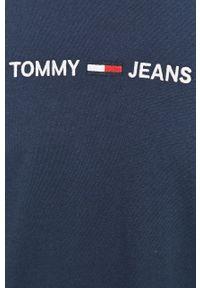 Niebieska koszulka z długim rękawem Tommy Jeans z aplikacjami, z okrągłym kołnierzem, casualowa, na co dzień