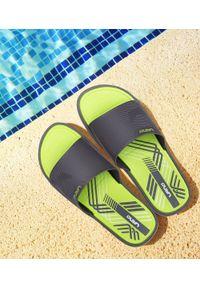 Szare klapki na basen LANO na obcasie, na średnim obcasie, na plażę