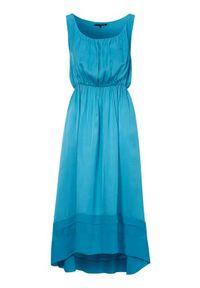 Niebieska sukienka Amy's Stories z włoskim kołnierzykiem, elegancka