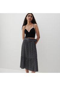 Reserved - Wiskozowa spódnica we wzory - Czarny. Kolor: czarny. Materiał: wiskoza