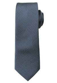 Szaro-Srebrny, Jednokolorowy Krawat ŚLEDŹ - 5 cm - Angelo di Monti, Stalowy. Kolor: srebrny, wielokolorowy, szary