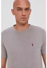 AllSaints - T-shirt bawełniany. Okazja: na co dzień. Kolor: szary. Materiał: bawełna. Wzór: gładki, aplikacja. Styl: casual