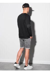 Ombre Clothing - Bluza męska bez kaptura B1151 - czarna - XXL. Typ kołnierza: bez kaptura. Kolor: czarny. Materiał: bawełna, jeans, dzianina, materiał, tkanina, poliester
