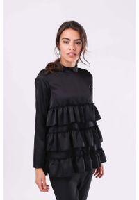 Czarna bluzka z długim rękawem Nommo z falbankami