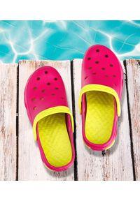 REALPAKS - Klapki dziecięce Realpaks F-402 Różowo-Zielone. Okazja: na plażę. Kolor: różowy, zielony, wielokolorowy. Materiał: tworzywo sztuczne. Styl: młodzieżowy