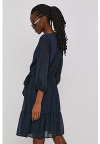 Jacqueline de Yong - Sukienka. Kolor: niebieski. Materiał: tkanina. Typ sukienki: rozkloszowane