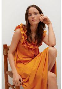 mango - Mango - Sukienka bawełniana Margot. Kolor: pomarańczowy. Materiał: bawełna. Wzór: gładki