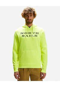 North Sails - NORTH SAILS - Żółta bluza z kontrastowym nadrukiem. Kolor: żółty. Materiał: bawełna. Długość rękawa: długi rękaw. Długość: długie. Wzór: nadruk