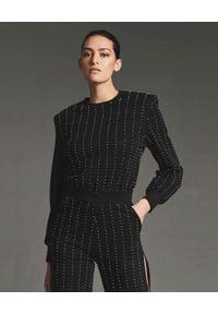 RETROFETE - Czarna bluza z kryształami Maya. Kolor: czarny. Materiał: dresówka. Długość rękawa: długi rękaw. Długość: długie. Wzór: aplikacja. Styl: klasyczny