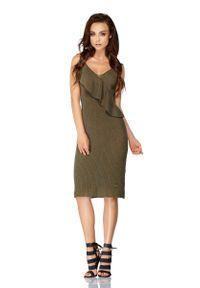 Lemoniade - Khaki Sukienka Swetrowa na Cienkich Ramiączkach. Kolor: brązowy. Materiał: bawełna, akryl. Długość rękawa: na ramiączkach