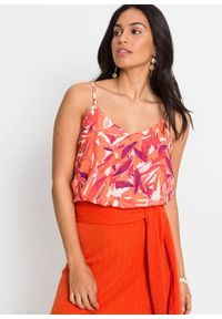 Bluzka bez rękawów bonprix pomarańczowo-różowy z nadrukiem. Kolor: pomarańczowy. Długość rękawa: bez rękawów. Wzór: nadruk. Styl: elegancki