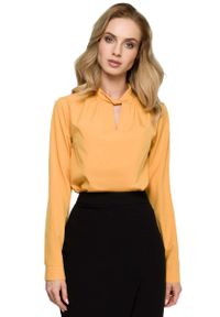 Żółta bluzka z długim rękawem MOE ze stójką, elegancka
