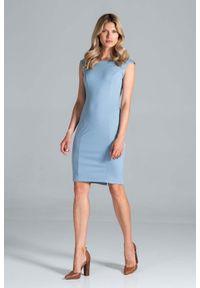 Figl - Klasyczna Dopasowana Sukienka bez Rękawów - Niebieska. Kolor: niebieski. Materiał: poliester, wiskoza, elastan. Długość rękawa: bez rękawów. Styl: klasyczny