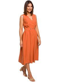 e-margeritka - Sukienka bez rękawów midi kopertowa pomarańczowa - 2xl. Kolor: pomarańczowy. Materiał: wiskoza, materiał, poliester. Długość rękawa: bez rękawów. Typ sukienki: kopertowe. Styl: elegancki. Długość: midi