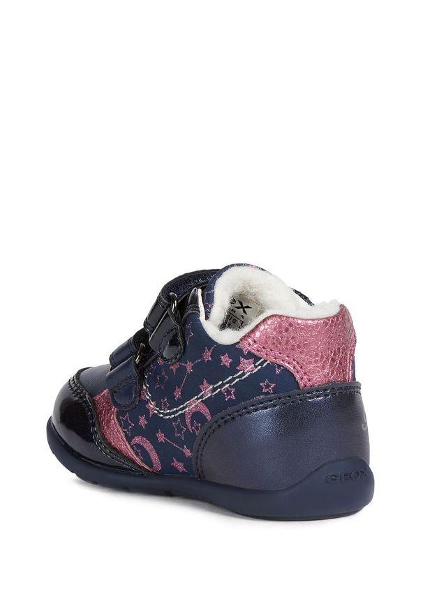 Niebieskie buty sportowe Geox na rzepy, z okrągłym noskiem