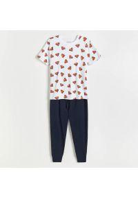 Reserved - Dwuczęściowa piżama SUPERMAN - Biały. Kolor: biały. Wzór: motyw z bajki