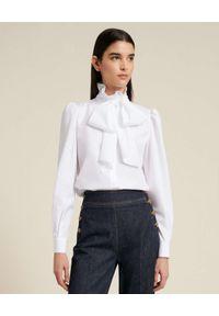 Luisa Spagnoli - LUISA SPAGNOLI - Biała koszula z kokardą Lily. Typ kołnierza: kokarda. Kolor: biały. Materiał: bawełna