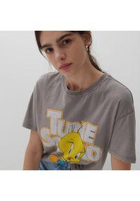 Reserved - T-shirt z nadrukiem LOONEY TUNES - Jasny szary. Kolor: szary. Wzór: nadruk