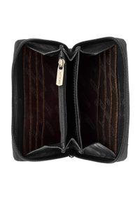 Wittchen - Damski portfel z tłoczonej skóry duży. Kolor: czarny. Materiał: skóra. Wzór: napisy, gładki