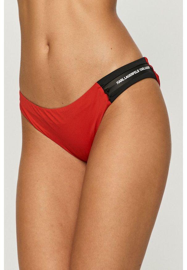 Czerwony strój kąpielowy dwuczęściowy Karl Lagerfeld z aplikacjami