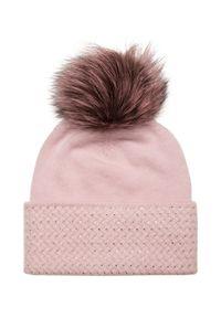 Różowa czapka William Sharp z aplikacjami, na zimę, elegancka