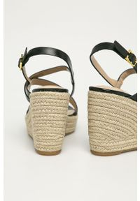Czarne sandały Lauren Ralph Lauren na klamry, na koturnie, na średnim obcasie