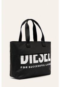 Czarna shopperka Diesel duża, z nadrukiem