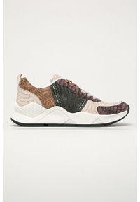 Wielokolorowe sneakersy Desigual na średnim obcasie, z cholewką, z okrągłym noskiem, na obcasie