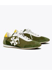 Tory Burch - TORY BURCH - Zielone sneakersy ze skóry. Kolor: biały. Materiał: skóra. Wzór: kolorowy. Sezon: lato