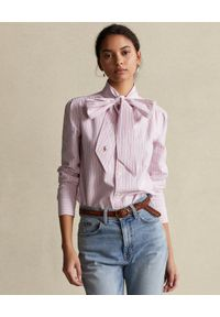 Ralph Lauren - RALPH LAUREN - Bawełniana różowa koszula z wiązaną kokardą. Typ kołnierza: kokarda. Kolor: wielokolorowy, fioletowy, różowy. Materiał: bawełna. Długość rękawa: długi rękaw. Długość: długie