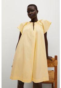 mango - Mango - Sukienka Deep. Kolor: żółty. Materiał: tkanina, bawełna. Długość rękawa: krótki rękaw