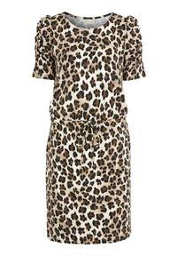 Freequent Dżersejowa sukienka we wzory zwierzęce. Moii we wzory female ze wzorem S (38). Materiał: jersey. Długość rękawa: krótki rękaw. Wzór: motyw zwierzęcy. Styl: elegancki