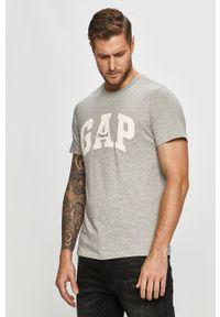 Szary t-shirt GAP na co dzień, z nadrukiem, casualowy