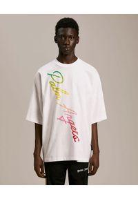PALM ANGELS - Luźny t-shirt z kolorowym logo. Kolor: biały. Materiał: bawełna. Wzór: kolorowy