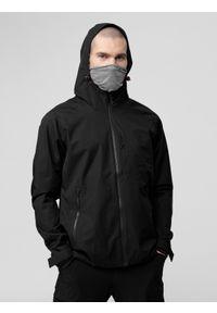Czarna kurtka przeciwdeszczowa 4f z kapturem