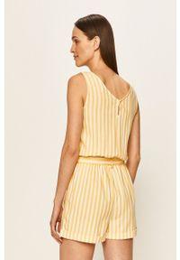 Żółty kombinezon Vero Moda na co dzień, na ramiączkach, z podwyższonym stanem